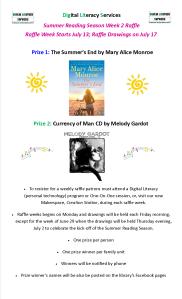 Dig Lit Summer Reading Raffle Poster Week 2 July 13, 2015