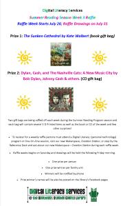 Dig Lit Summer Reading Raffle Poster Week 4 July 25, 2015